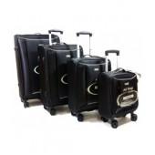 Touareg 14N011 4 tagú fekete négykerekű bőröndszett